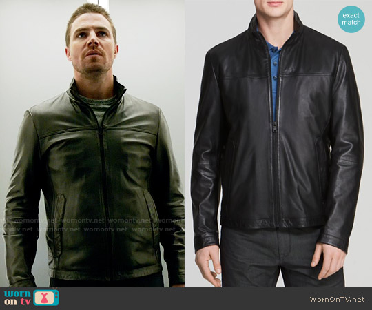 Hugo Boss Nilas Leather Jacket worn by Oliver Queen (Stephen Amell) on Arrow