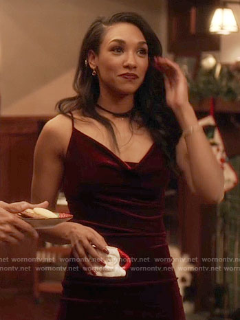 Iris's burgundy velvet dress on The Flash