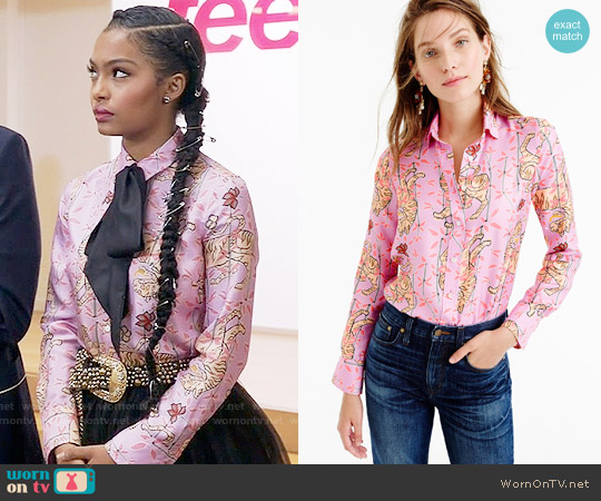 J. Crew Perfect Shirt in Pink Bengal Tiger worn by Yara Shahidi on Blackish