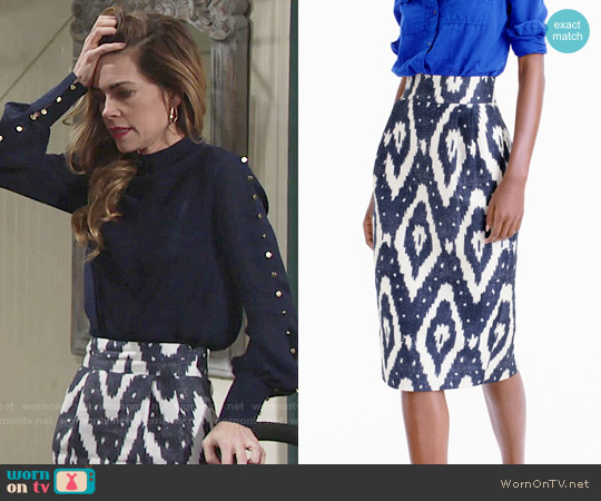 J. Crew Collection Midi Skirt in Ikat worn by Amelia Heinle on The Young & the Restless