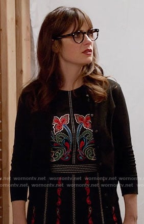 Jess's black embroidered dress on New Girl