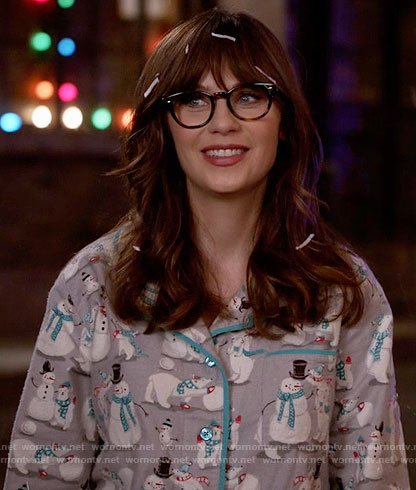 Jess's snowman print pajamas on New Girl