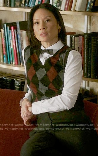 Joan's argyle vest on Elementary