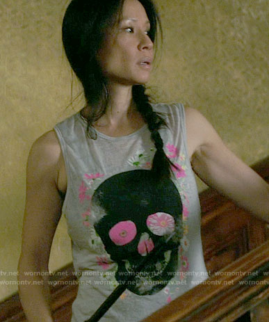 Joan's floral skull print tank top on Elementary