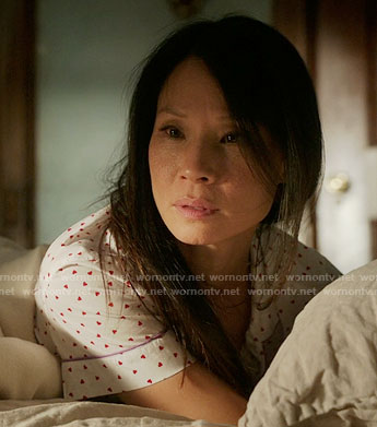 Joan's heart print pajamas on Elementary