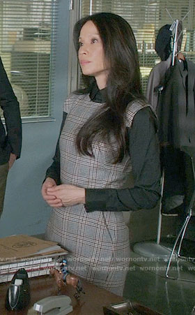 Joan's grey plaid dress on Elementary
