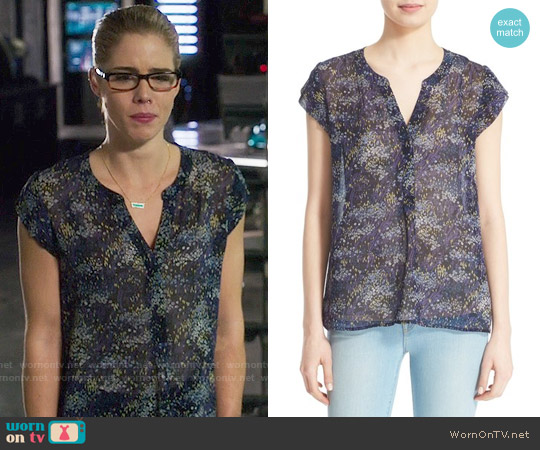 Joie 'Farhana' Floral Print Silk Top worn by Felicity Smoak (Emily Bett Rickards) on Arrow