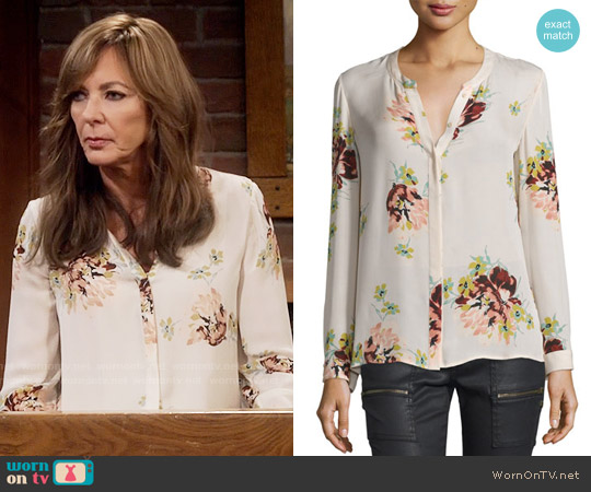 Joie Devitri Blouse in Almond worn by Allison Janney on Mom