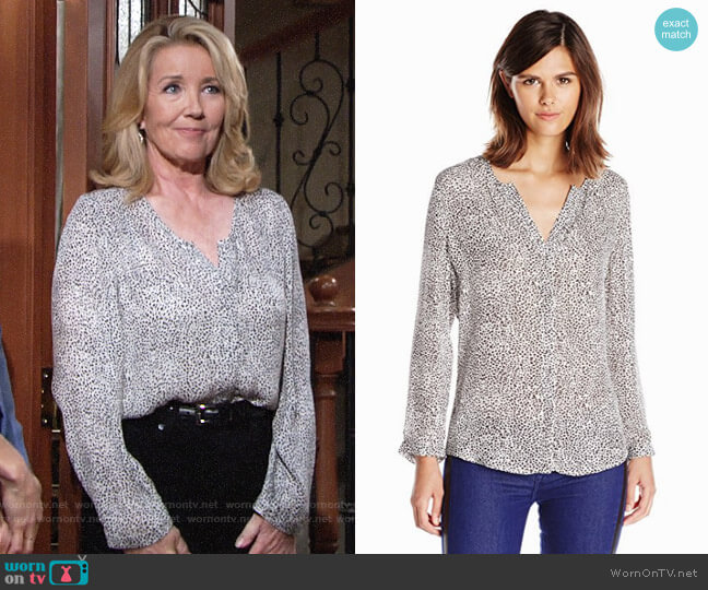 Joie 'Purine' Leopard Print Silk Blouse worn by Melody Thomas-Scott on The Young & the Restless