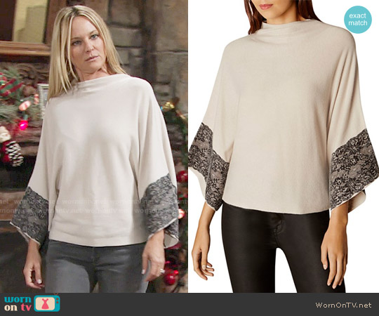 Karen Millen Lace-trim Poncho worn by Sharon Case on The Young & the Restless