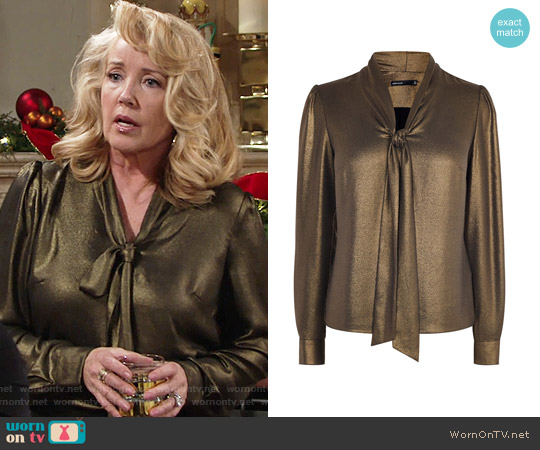 Karen Millen Metallic Pussy Bow Blouse worn by Nikki Reed Newman (Melody Thomas-Scott) on The Young & the Restless