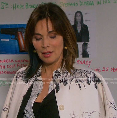 Kate's tree print coat on Days of our Lives