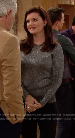 Katie's metallic sweater on The Bold and the Beautiful