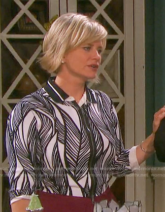 Kayla's black and white leaf print cardigan on Days of our Lives