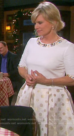 Kayla's white beaded top and gold polka dot skirt on Days of our Lives