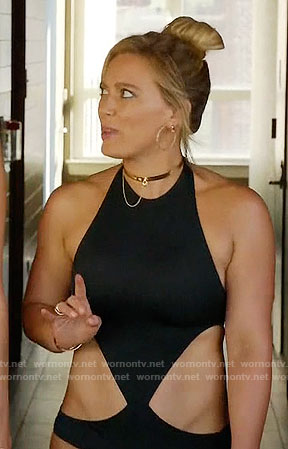 Kelsey's black swimsuit with side cutouts on Younger