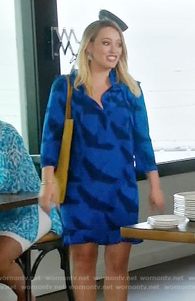 Kelsey's blue bird print dress on Younger