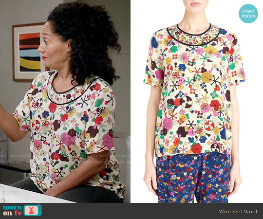 Kenzo 'Tanami Flower' Silk Crepe Top worn by Tracee Ellis Ross on Blackish