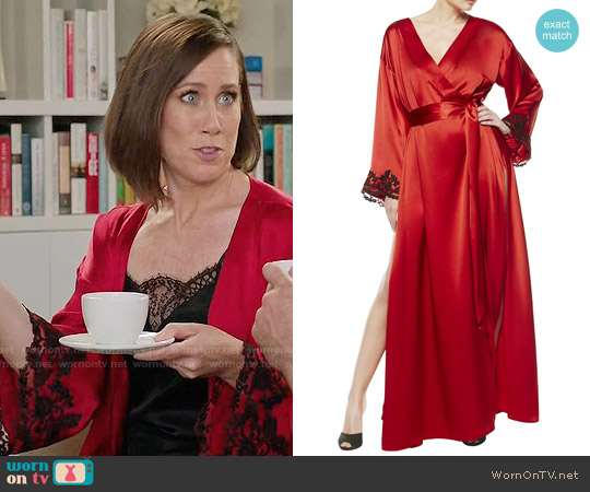 La Perla Maison Long Robe in Red worn by Miriam Shor on Younger