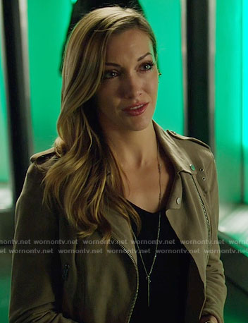 Laurel's suede moto jacket on Arrow