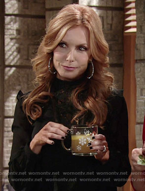 Lauren's black lace blouse with lace-up sleeves on The Young and the Restless