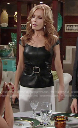 Lauren's leather off-shoulder top on The Young and the Restless