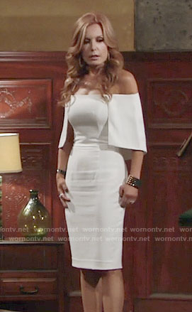 Lauren's white off-shoulder dress on The Young and the Restless
