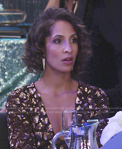 Lily's bronze embellished v-neck dress on The Young and the Restless