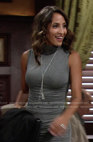 Lily's grey turtleneck dress on The Young and the Restless