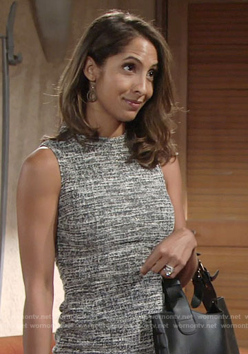 Lily's sleeveless tweed dress on The Young and the Restless