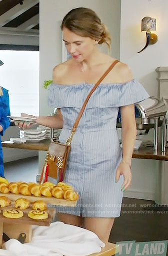 Liza's blue striped off-shoulder dress and tassel bag on Younger
