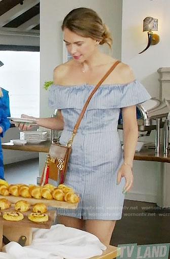 Liza's blue striped off-shoulder dress and tassel bag on Younger