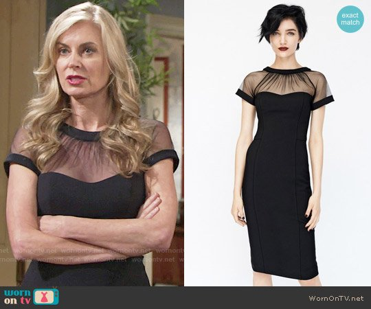 Maggy London Illusion Yoke Crepe Sheath Dress worn by Eileen Davidson on The Young & the Restless