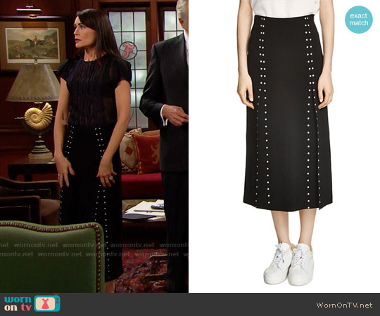 Maje Jude Studded Midi Skirt worn by Quinn Fuller on The Bold & the Beautiful