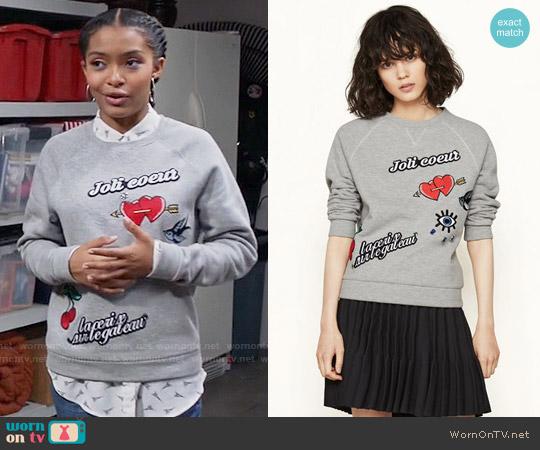 Maje Tilda Sweatshirt worn by Zoey Johnson (Yara Shahidi) on Blackish