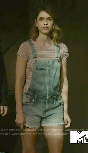 Malia's short denim overalls and pink striped top on Teen Wolf