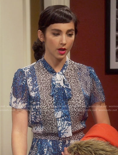 Mandy's blue printed tie-neck dress on Last Man Standing
