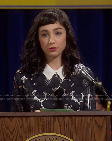 Mandy's navy lace dress with white collar on Last Man Standing