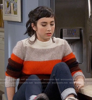 Mandy's red colorblock sweater on Last Man Standing
