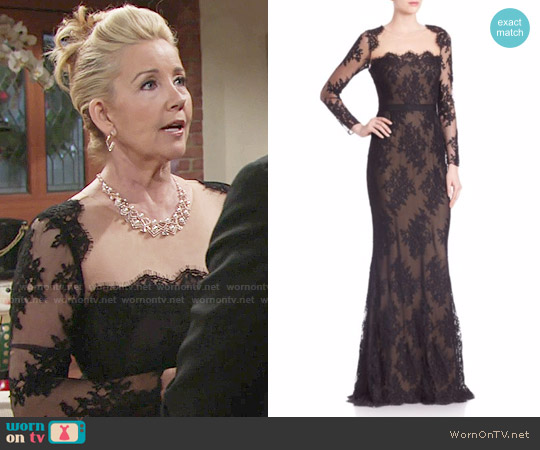Marchesa Notte Embroidered Lace Illusion Neckline Gown worn by Melody Thomas-Scott on The Young & the Restless