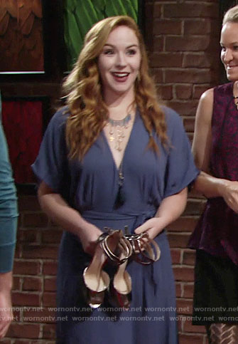 Mariah's metallic shoes and blue gown on The Young and the Restless