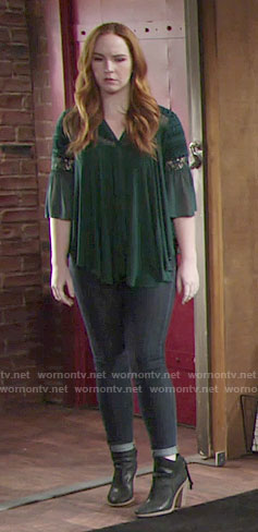 Mariah's green lace top and ankle booties on The Young and the Restless