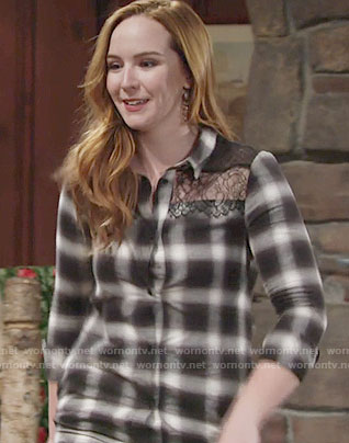 Mariah's plaid button front dress with lace on The Young and the Restless