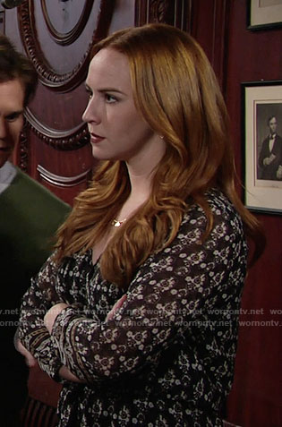 Mariah's printed long sleeve dress on The Young and the Restless