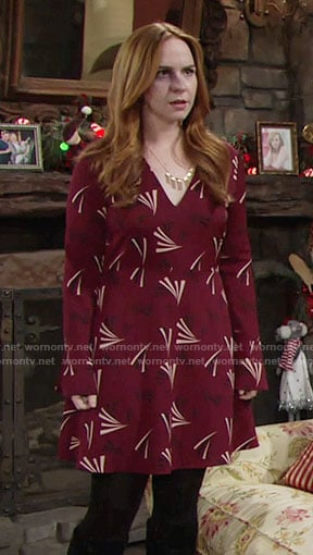 Mariah's red printed long sleeve dress on The Young and the Restless