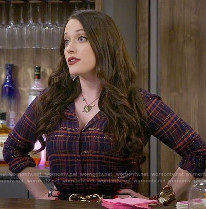 Max's metallic plaid shirt on 2 Broke Girls