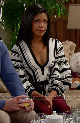 Maya's striped peplum blouse on The Bold and the Beautiful