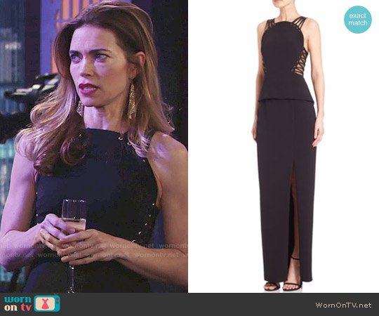 Mignon Corset-Detail Peplum Gown worn by Amelia Heinle on The Young & the Restless