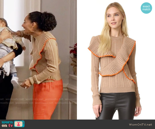 MSGM Long Sleeve Ruffle Pullover worn by Tracee Ellis Ross on Blackish