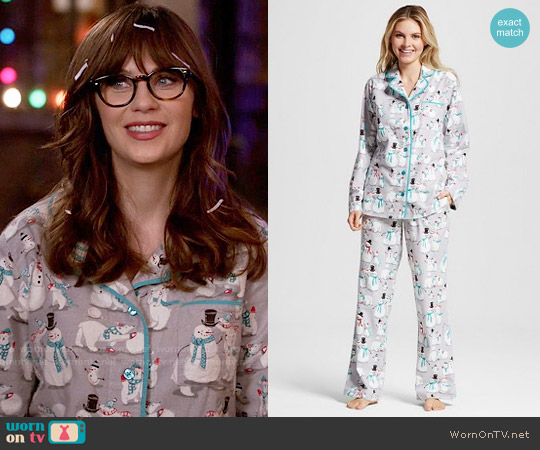 Nite Nite Munki Munki  Snowman Flannel Pajamas worn by Zooey Deschanel on New Girl